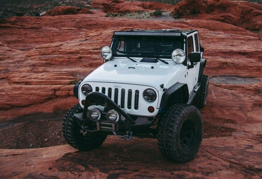 A white Jeep on Red Rock Canyon