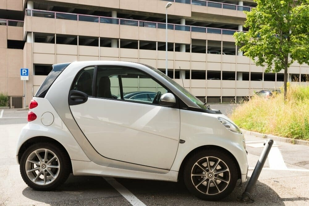 smart white car